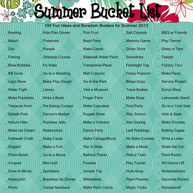 2013 Summer Bucket List